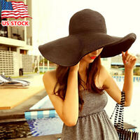 Foldable Straw Wide Large Brim Hat for Women UV Protection Summer Beach Sun Hat