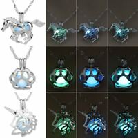 Horse Paw Print Hollow Luminous Glow In The Dark Pendant Necklace Jewelry Hot
