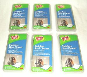 Lot of 6 Packs Scotch-Brite 3M Stainless Steel Cleaner Refill Pads (36 Total )