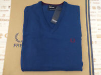 FRED PERRY Jumper K7210 Men's Classic Tipped V-Neck S.Blue Size L Wool Top R£90