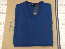 FRED PERRY Jumper K7210 Men's Classic Tipped V-Neck S.Blue Size M Wool Top R£90