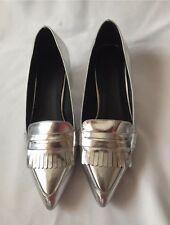 Nuevo Asos Plata señalado Flats Shoes Size UK 4 (37)