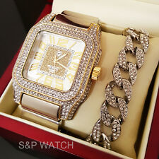 Men Luxury Iced Out Rapper Bling White Gold Tone WATCH & Cuban Bracelet Gift Set