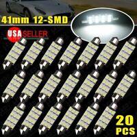 20x 42MM Festoon LED 12SMD White Car Trunk License Plate Interior Light Bulbs HM