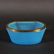 French opaline glass bowl blue gold metal vintage oval shape Opalglas Schale
