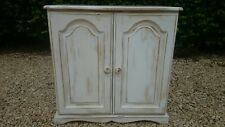 SHABBY CHIC LINEN/PANTRY STORAGE CUPBOARD WITH ADJUSTABLE SHELF WHITE