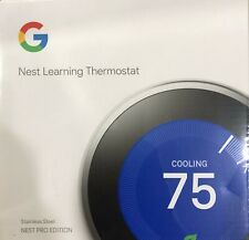 New Google Nest Learning Thermostat Stainless Steel Nest Pro Edition - T3008US
