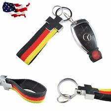Euro Germany Flag Stripe Nylon Band w/ Inner Leather Key Fob Chain Keychain Ring
