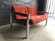 Mid Century Modern JAMES DAVID INC. Corduroy Red & Chrome Sofa Love Seat MCM