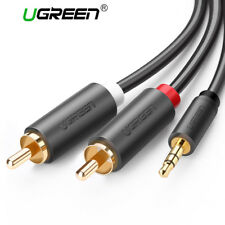 UGREEN Aux Cable 3.5mm to 2RCA Male Gold Plated L R Plug Audio Cable Cord 3FT