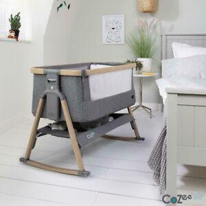 Tutti Bambini CoZee Air Bedside Rocking Crib, Oak and Charcoal