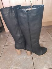 Catisa - Black Knee High Full Zip Heeled Boots - Size 6