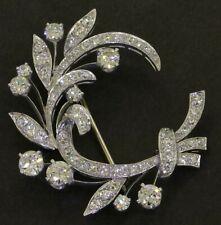 Antique Platinum amazing elegant 3.81CTW VS diamond floral wreath brooch