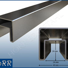 Restposten 50 cm Profilrohr für Glas 40x40 mm mit Nut Rohr geschliffen