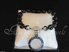 Original Sterlina mi Milano bracelet/bangle onyx/crystal coin/moneda Colgante ajmm