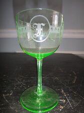 Set 4 Antique Fenton Green Uranium Glass Stem Cordial Ice Wine Etched Vaseline
