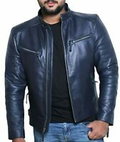 NOORA Leather Jacket Men Navy Blue Color Genuine Lambskin Biker Motorcycle Cycle