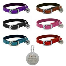 Leather Cat Collar, Safety Elastic, Bell, Range of Colours & Engraved Nickel Tag