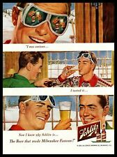 1950 Schlitz Beer Bottle Ski Goggles Lodge Cabin Nordic Sweater Vintage Print Ad
