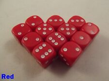 Opaque Dice Dotted 12 x 12mm D6 Red Board Game Table Top Yahtzee Perudo Gothic