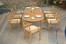 9 PC DINING TEAK STACKING CHAIRS PATIO FURNITURE POOL - GRANADA DINING DECK C02