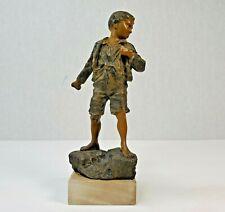 "Vintage Carl Kauba Angry Boy Cabinet Bronze Vienna 7"" Base Sculpture Art Figure"