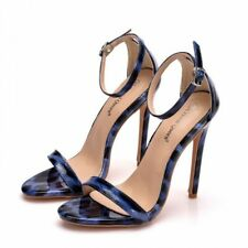 Women Stiletto High Heel Ankle Strap Sandals Leopard Party Shoes Pointy Peep Toe