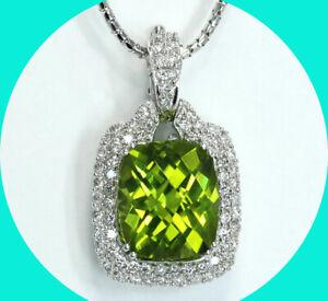 "7.50CT F diamond peridot halo slide pendant necklace 14K WG 18"" cobra chain"