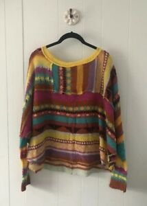 NWT Free People December Skies Patchwork Open Knit Sweater Poncho Sz Small $168