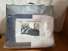Chezmoi Collection Sydney 8-Piece Luxury Striped Comforter Set (Queen,Navy/Gray)