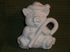 12 Month Calendar Pig with Candy Cane December ~ Ceramic Bisque Ready to Paint