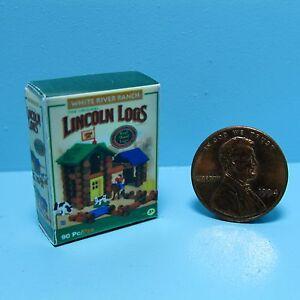 Dollhouse Miniature Replica Toy  Lincoln Logs Box  G112