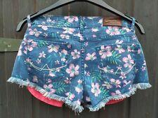 Superdry Flower Denim Hot Pant Shorts W30 (UK 12) Vintage Print