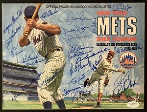 1969 Mets Team Signed Program Baseball Autograph Berra Koonce Agee +21 Sigs JSA