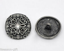 20 Silver Tone Carved Flower Sewing Metal Buttons 23mm