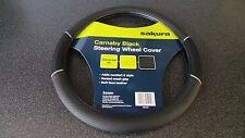 Car Steering Wheel Cover/Glove Universal Soft Grip Black Faux Leather/Black Mesh