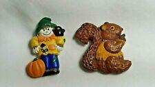 Hallmark Fall Harvest Squirrel & Scarecrow Pin Set