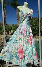 "New listing Vtg 80s dress sundress fit n flare cotton tropical Karen Alexander M 36/38"" bust"