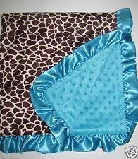 NEW Minky Dots Nursery Baby receiving Blanket Satin Ruffle Boy Giraffe Animal