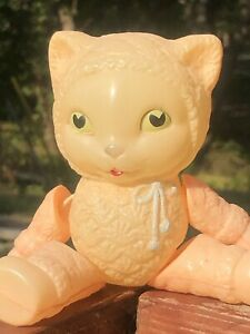 VTG~HTF Jointed Celluloid Kitty Cat 🐈 Kitten~Very Thin Plastic Strung Cat Doll