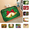 LN_ AM_ XMAS DEER BELL ORNAMENT ANTI-SLIP DOORMAT RUG CARPET FLOOR MAT HOME DE