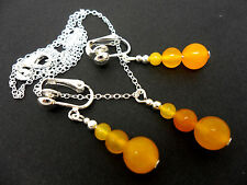 A  YELLOW JADE  NECKLACE AND   CLIP ON EARRING SET. NEW.