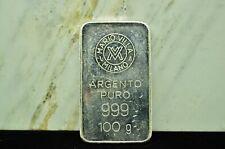 MARIO VILLA MILANO 100 GRAM .999 FINE SILVER SPECIALTY BAR / INGOT