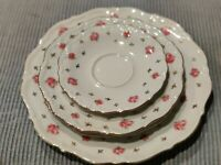 Vintage Winterling Bavaria Heritage Plate set Pink Rosebuds Gold Leaves. (4 pc)