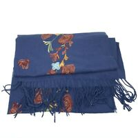 NEW World Market Womens Pashmina Style Scarf Wrap Floral Embroidered Blue Fringe
