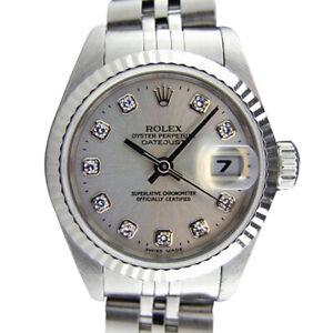 ROLEX - Ladies 18kt White Gold & SS DateJust Silver Diamond 79174 - SANT BLANC