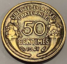 1941 France 50 Centimes Coin Higher Grade