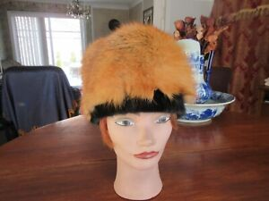 "#44 men women red fox trim w/black mink fur hat beanie fits size 22"" in 22.5"" in"