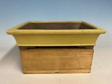 """Beautiful Yellow Glazed Rectangle Tokoname Bonsai Tree Pot By Yamaaki 12 5/8"""""""