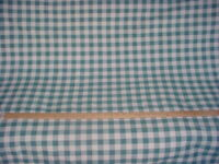 7-1/2Y KRAVET SPRUCE BLUE GREEN SOFT WHITE COTTON PLAID UPHOLSTERY FABRIC